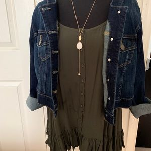 Army green tunic with ruffle and buttons